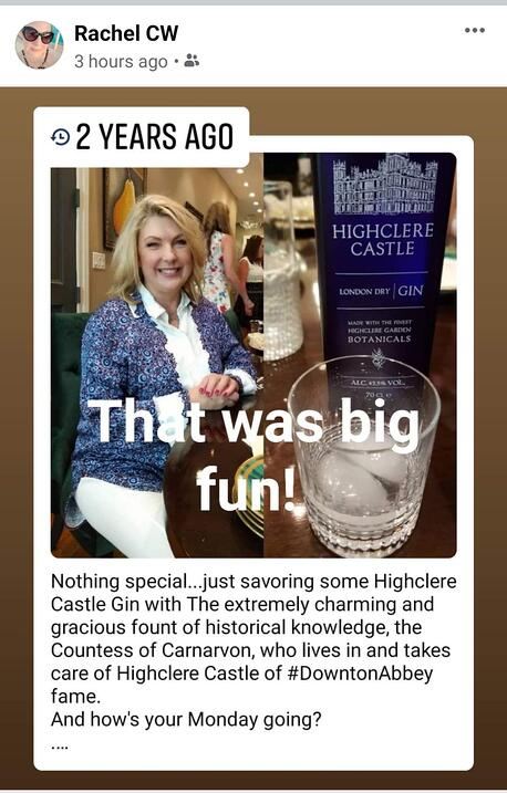 Lady Carnarvon of Highclere Castle with US journalist Rachel Weingarten