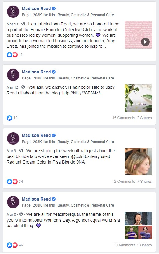 Madison Reed Facebook posts during Covid-19