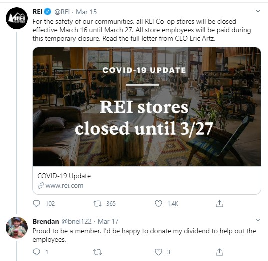 REI pays employees during Covid-19 store shutdown